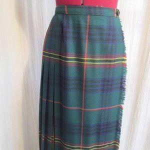 Vintage Plaid WOOL Kilt Skirt Green Blue 26Waist